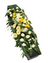 Yellow and White coffin top Spray.